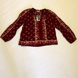 Lucky Brand Long Sleeve Top, Burgundy with…